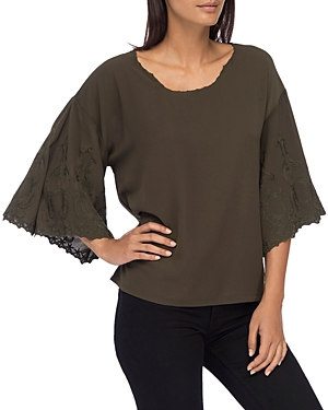 B Collection by Bobeau Elisa Embroidered-Sleeve Blouse