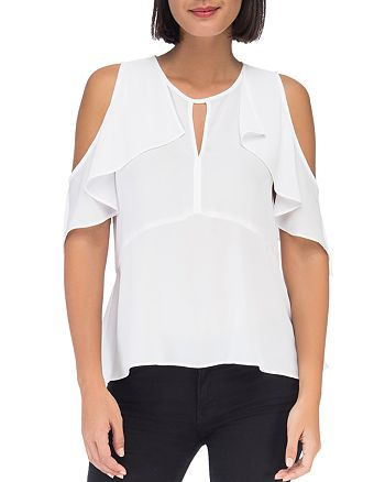 B Collection by Bobeau - Pamela Cold-Shoulder Ruffle Top