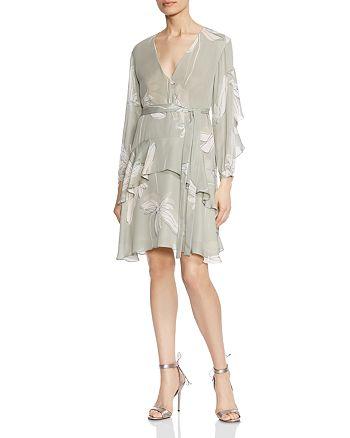 HALSTON HERITAGE - Ruffled Botanical-Print Silk Dress