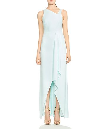 HALSTON HERITAGE - Asymmetric-Neck Draped Crepe Gown