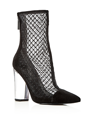Kendall and Kylie Women's Haven Embroidered Mesh & Suede High Block Heel Booties - 100% Exclusive