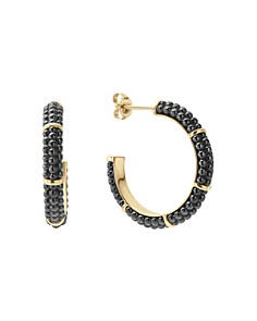 LAGOS - Gold & Black Caviar Collection 18K Gold & Ceramic Hoop Earrings