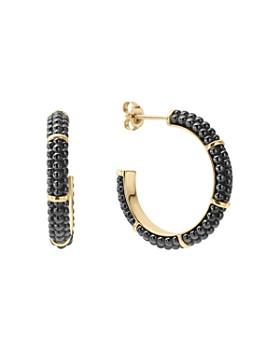 Lagos Gold Black Caviar Collection 18k Ceramic Hoop Earrings