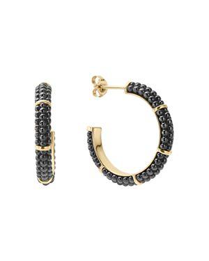 Lagos Gold & Black Caviar Collection 18K Gold & Ceramic Hoop Earrings