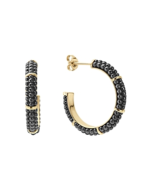 Lagos Gold & Black Caviar Collection 18K Gold & Ceramic Hoop Earrings-Jewelry & Accessories