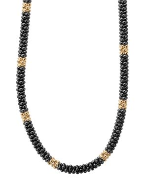 Lagos Gold & Black Caviar Collection 18K Gold & Ceramic Rope Necklace, 18