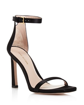 Stuart Weitzman - Women's 100Fringesquarenudist Satin Embellished High-Heel Ankle Strap Sandals
