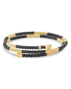 Lagos Gold & Black Caviar Collection 18K Gold & Ceramic Coil Bracelet
