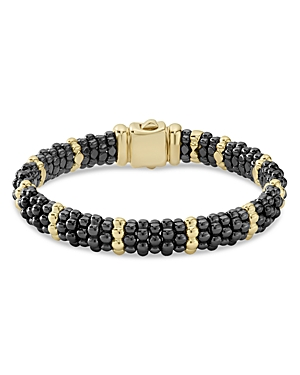 Lagos 18K Yellow Gold & Black Ceramic Beaded Station Bracelet