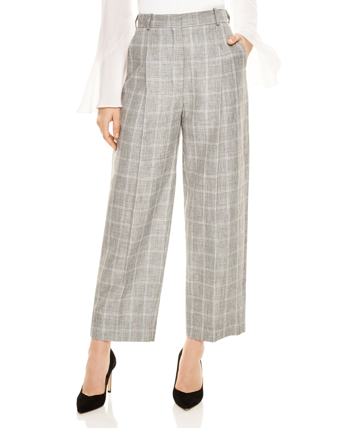 Hoviv Cropped Wide Leg Plaid Pants by Sandro