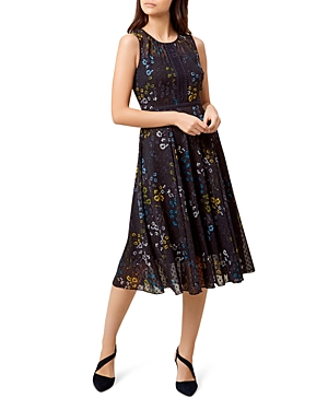 Hobbs London Liza Floral Print Swiss Dot Dress