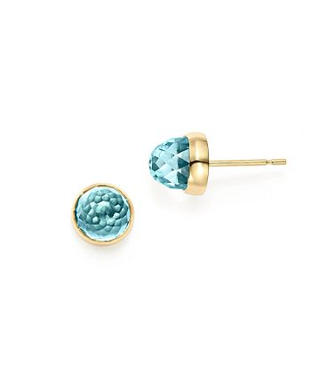 Bloomingdale's - Blue Topaz Faceted Stud Earrings in 14K Yellow Gold - 100% Exclusive