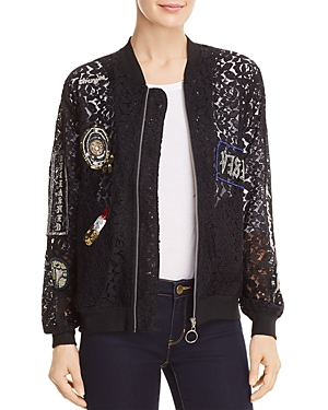 Unleashed Embellished Lace Bomber Jacket