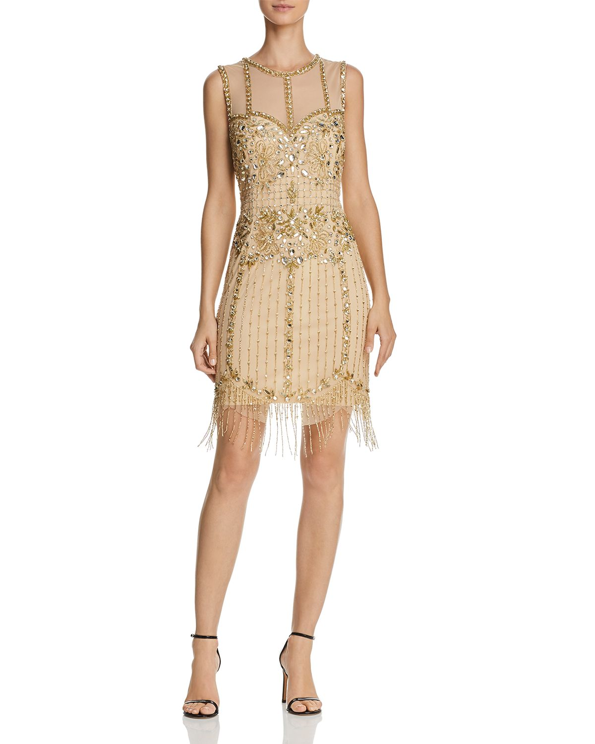 Sleeveless Beaded Fringe Dress by Aidan Mattox