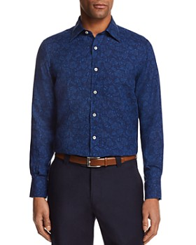 Canali - Floral Motif Regular Fit Button-Down Shirt