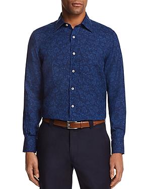 Canali Floral Motif Regular Fit Button-Down Shirt