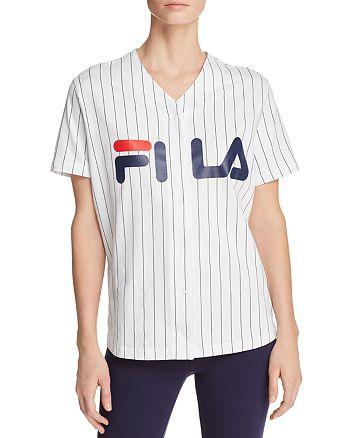 9a0ec9b29c76 FILA - Lacey Pinstriped Baseball Shirt