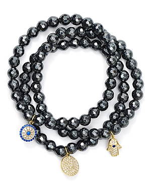 Beaded Bracelets in Gold Tone-Plated Sterling Silver and Hematite Tone-Plated Sterling Silver