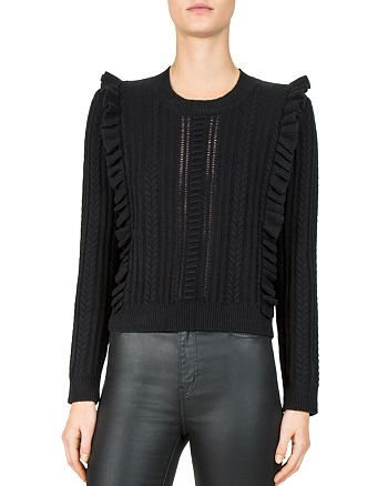 The Kooples - Ruffled Cable-Knit Sweater