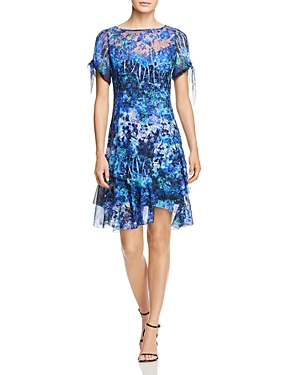 Elie Tahari  MAURINE FLORAL COLD-SHOULDER SILK DRESS