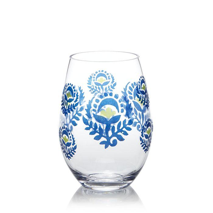 Dansk - Pelle Melamine Blue Floral Stemless Wine Glass - 100% Exclusive