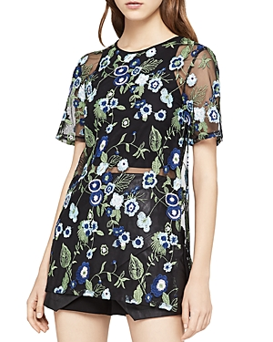 BCBGeneration Embroidered Mesh Tunic Top