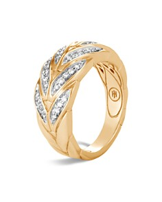 JOHN HARDY - 18K Yellow Gold Modern Chain Pavé Diamond Small Ring