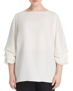 LAFAYETTE 148 NEW YORK PLUS Winston Ruched-Sleeve Blouse in Cloud