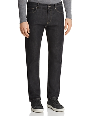 Canali Stretch New Tapered Fit Jeans in Black Denim
