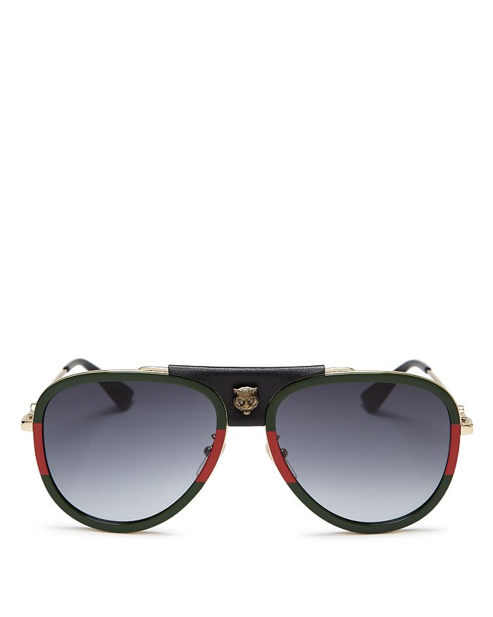 bd3707306c Gucci - Women s Leather Tiger Logo Aviator Sunglasses