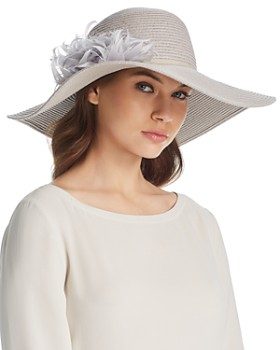August Hat Company - Dress Me Up Feather-Trim Floppy Hat