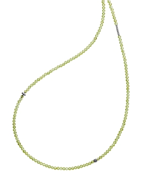 Lagos Sterling Silver Caviar Icon Peridot Five Station Strand Necklace, 34