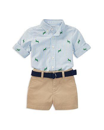 074ebc578 Ralph Lauren - Boys' Grasshopper Oxford Shirt, Chino Shorts & Belt Set -  Baby