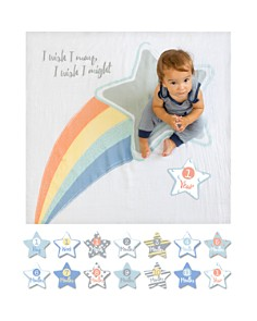 Lulujo - I Wish I May Shooting Star Baby Blanket & Age Cards Set