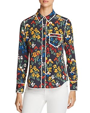 Tory Burch Jackie Floral Dot Silk Blouse