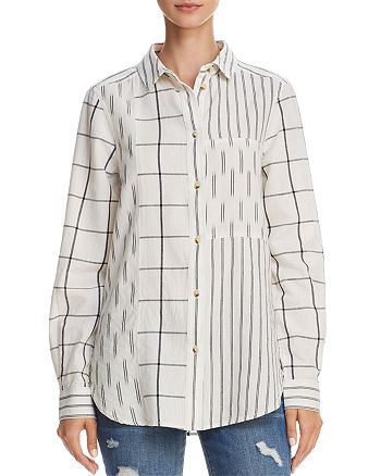 FRENCH CONNECTION - Mixed-Print Button-Down Shirt