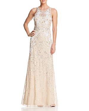 Adrianna Papell Embellished Back-Detail Gown