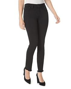 NYDJ Petites Sheri Frayed-Hem Slim Ankle Jeans in Black - Bloomingdale's_0