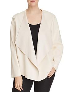 Bagatelle Plus - Faux-Leather Draped Open-Front Jacket