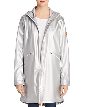 Save The Duck Hooded Packable Metallic Raincoat