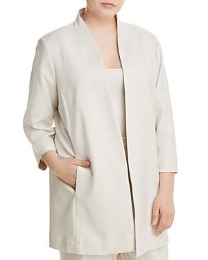 New Eileen Fisher Plus Long Open-Front Jacket, Bone