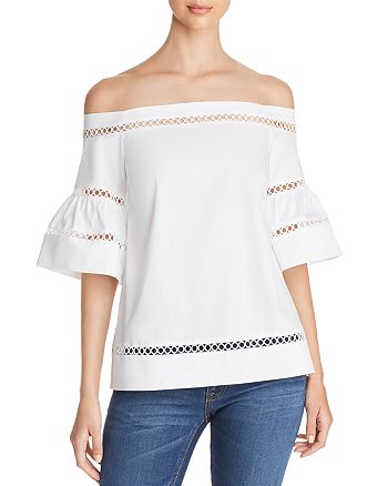 1007fdd0aef1b MICHAEL Michael Kors - Embroidered Off-the-Shoulder Top