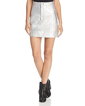 rag & bone/Jean Moss Metallic Leather Skirt
