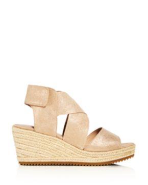 Eileen Fisher Women's Willow Nubuck Leather Platform Espadrille Sandals 8Pos7wor1n
