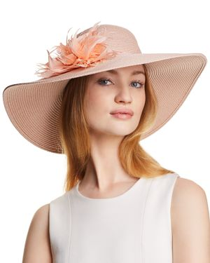 AUGUST HAT COMPANY DRESS ME UP FEATHER-TRIM FLOPPY HAT