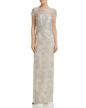 Adrianna Papell Bodice-Overlay Lace Gown