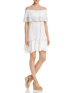Muche Et Muchette Gavin Embroidered Off-The-Shoulder Ruffle Dress Swim Cover-Up, White/Silver
