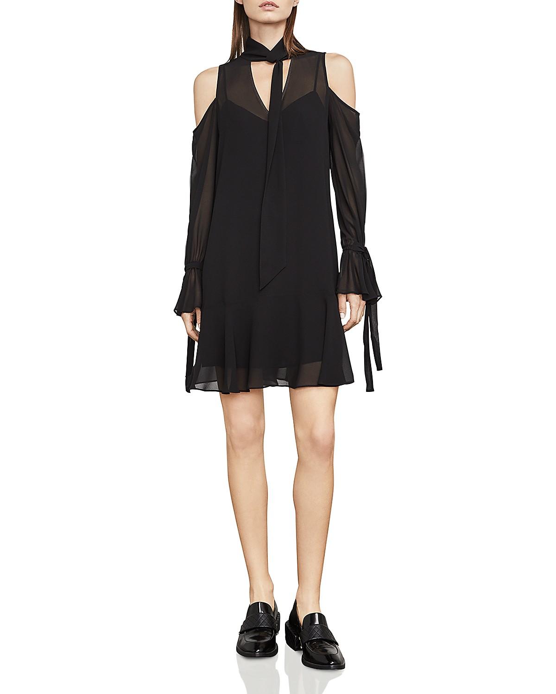 BCBGMAXAZRIA Arieta Cold-Shoulder Tie-Neck Dress | Bloomingdale\'s