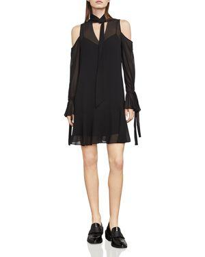 Bcbgmaxazria Arieta Cold-Shoulder Tie-Neck Dress