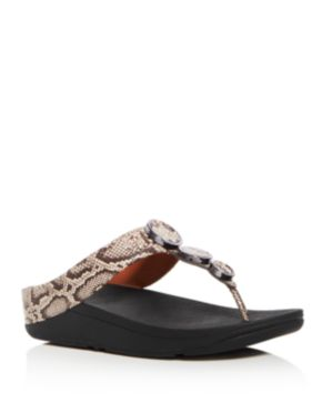 FitFlop Women's Halo Embellished Snake Embossed Leather Platform Thong Sandals zbwlCbe